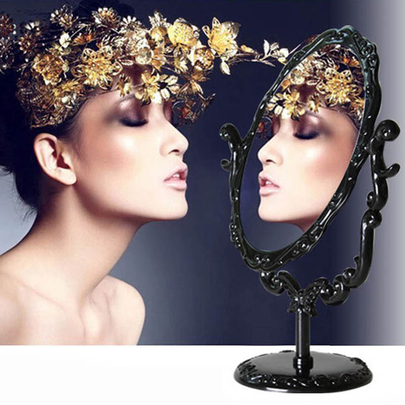 Retro Makeup Mirror Desktop Rotatable Small Size Rose Stand Mirror Beauty Tool European Style HB88