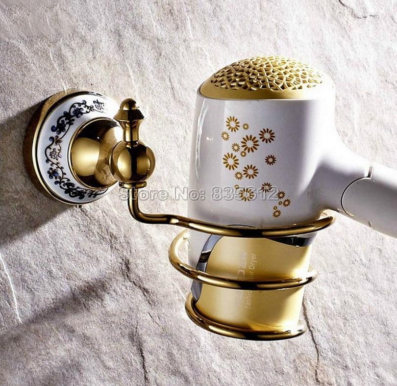 ФОТО Gold Color Brass Wall Mounted Convenient Bathroom Hair Dryer Holder Rack Hair Drier Storage Organizer / Bathroom Shelves Wba258