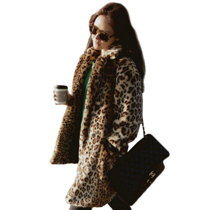 Fashion Women Warm Vintage Animal Leopard Print Coats Long Faux Fur Coat Outwear Plus Size XXXL 2018 Winter New Jacket Women
