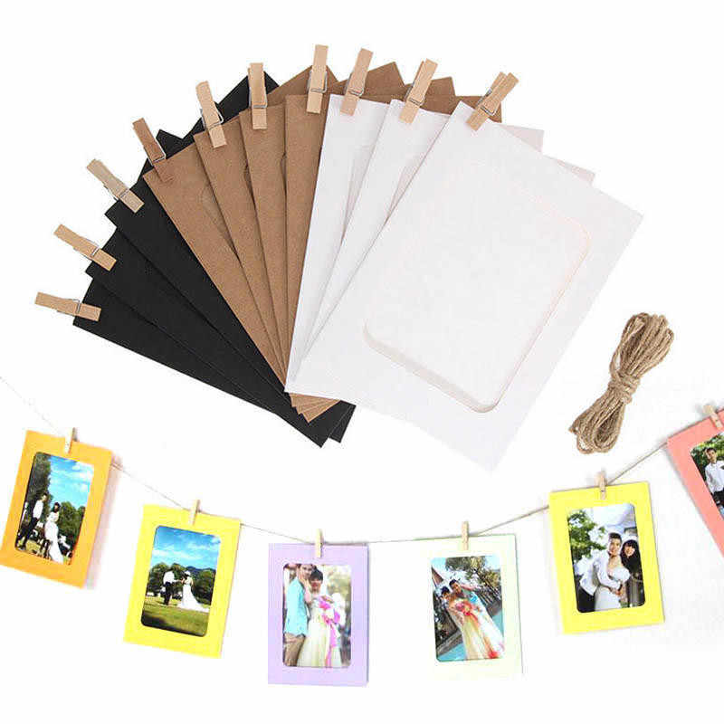 10pcs Paper photo Frame Vintage DIY Tool Wall Picture Hanging Frame Album Rope Clips Set 3/5/6 inch Wall Picture Home Decoration