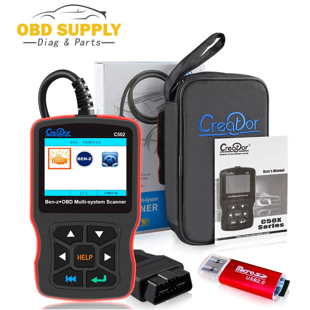 NewestOBD2 Car Diagnostic Tool CREATOR C502 Automotive Scanner for Mercedes Benz W211 W203 W124 OBD2 Engine Fault Code Reader hot sale original professional st60 w211 and w203 cluster diagnostic cable for digiprog iii