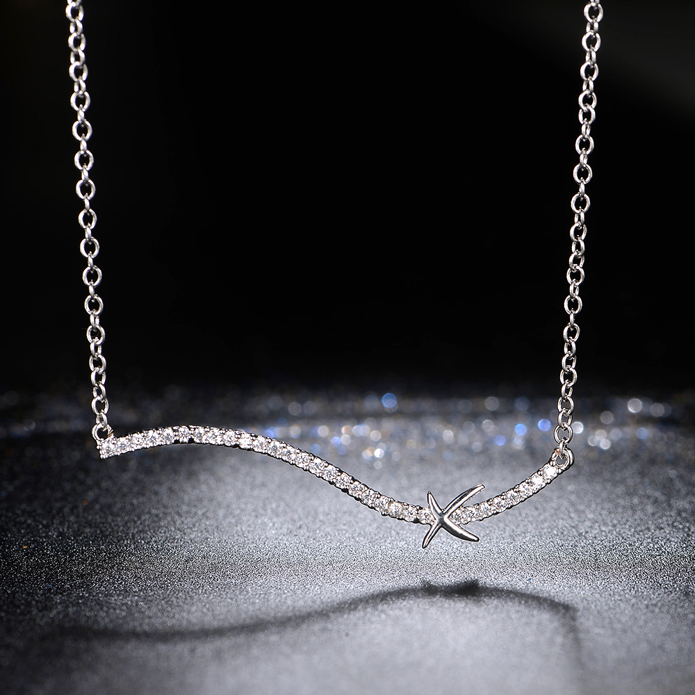 white Gold-color sea star Gril Necklaces Trendy AAA+ CZ crystal Necklaces For Party Christmas gift