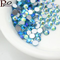 All Sizes Aquamarine AB 3D Nail Rhinestones Flatback Glass Strass Non HotFix Rhinestone For DIY Nails,1440pcs/bag,SS3-SS20