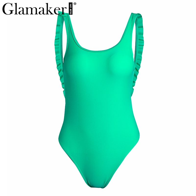 Glamaker Backless ruffle sexy bodysuit Women beach slim bodycon summer jumpsuit body suit Elegant one piece holiday bodysuit