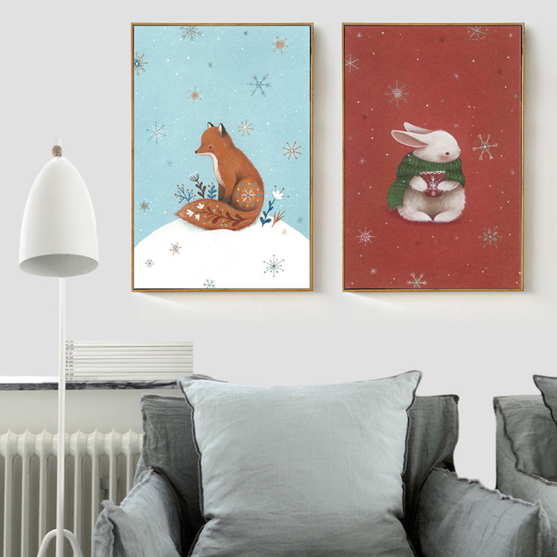 christmas fox rabbit canvas painting nursery wall art animals poster print nordic pictures for. Black Bedroom Furniture Sets. Home Design Ideas