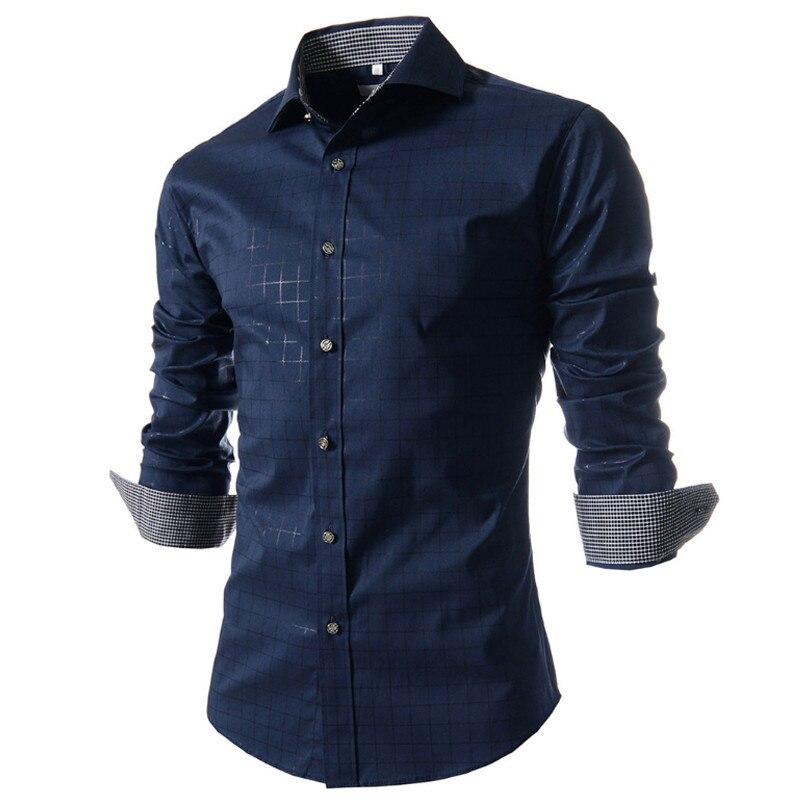 2017 nieuwe lente merk mannen shirt mode jurk shirt lange mouw mannen - Herenkleding - Foto 2