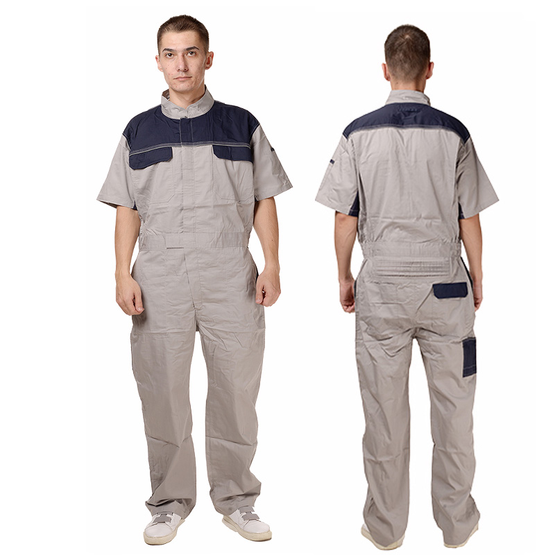 Men's Coverall Big Tall Short Sleeve Work Utility Blue Overalls Six Pockets Plus Size plus size bell sleeve plunge tee