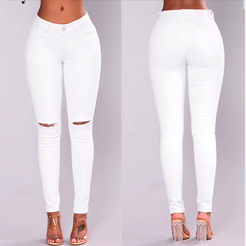Ripped hole white   jeans   for women New Stretchy Blue elastic   Jeans   Woman Denim Pants Trousers For Women Pencil Skinny   Jeans   women