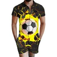 Short Sleeve Shirt Boy Jumpsuit 3D Foot Ball Printing Men Beach Suit Cargo Overalls Summer One Piece Dropship Rompers