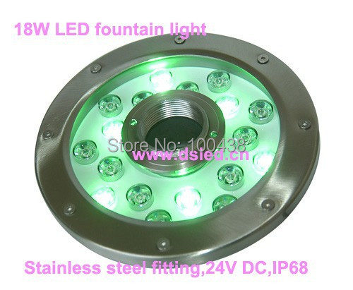 Diameter 220mm,stainless steel,18W LED fountain light,underwater LED spotlight,18*1W,24V DC,IP68,RGB,DMX compitable