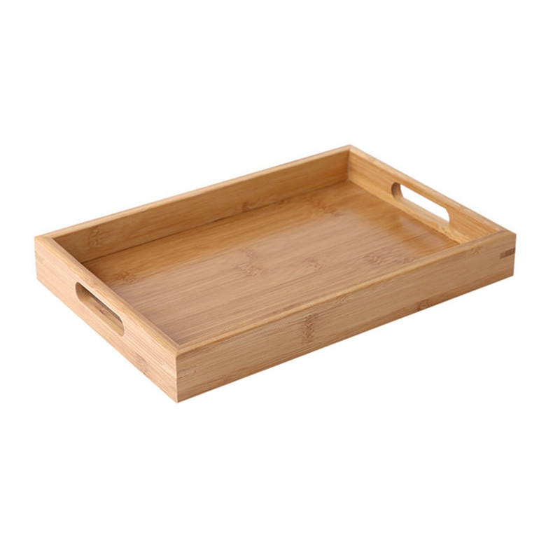 органайзеры для кухни поднос Прямоугольный деревянный поднос для сервировки чайных столовых приборов поддон для хранения фруктов тарелка украшение еды бамбук-1