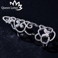 Kraliçe Lotus kişiselleştirilmiş alternatif kelebek ortak hollow moda uzun mikro-zirkon yüzük Yüksek kalite lady takı parti hediye