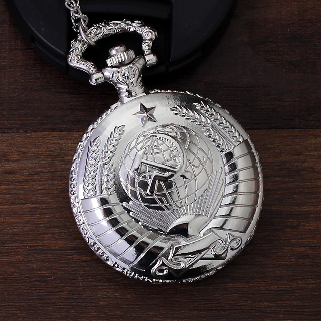 USSR Coat of Arms CCCP Vintage Pocket Watch Necklace Pendant Women Men Quartz Watches FOB Clock Chain orologio relogio de bolso
