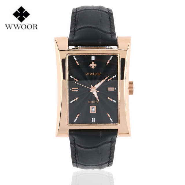 WWOOR Male Hour Date Square Clock Quartz Dial Waterproof Watch Leather Strap Sport Wrist Watch Luxury Band Relogio Masculino