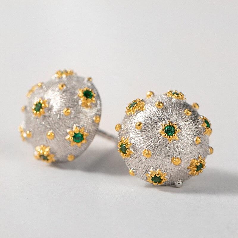 CMajor S925 solide en argent Sterling Vintage élégant deux tons rond vert pierre boucles d'oreilles cadeau pour les femmes
