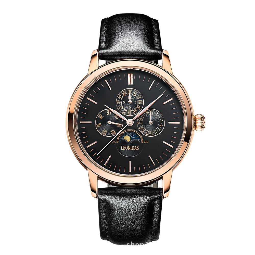 Luxury Genuine Leather Stainless Steel Men Watches Quartz Water-Proof Casual Wristwatch Moon phase Business Chronograph Watch