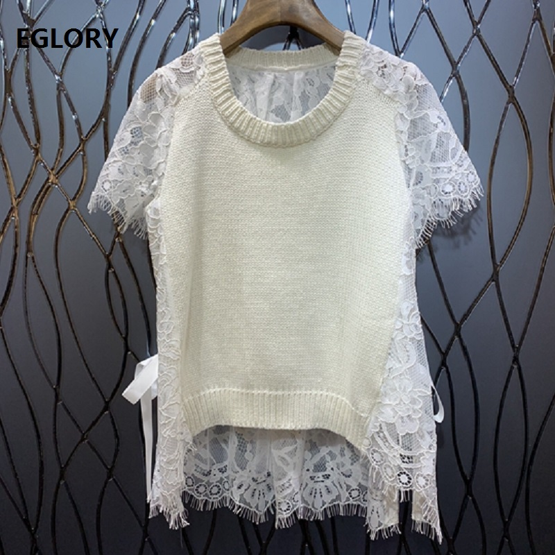 New 2019 Summer Fashion Pullovers Sweater Women Lace Patchwork Short Sleeve Casual Knitted Jumpers White Pink Tops Sweaters