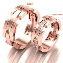 HIP HOP Rose Gold Color Couple Rings for Lover High Quality Fashion AAA Cubic Zirconia Wedding Bands Jewelry 2019