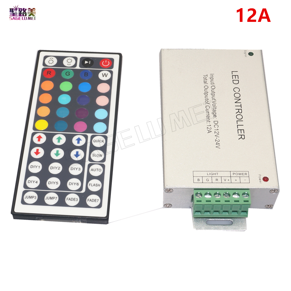 Free shipping DC12V-24V 12A / 24A 44key IR Remote Led RGB Controller 44key IR wireles Dimmer for 3528 5050 RGB led strip Lamp