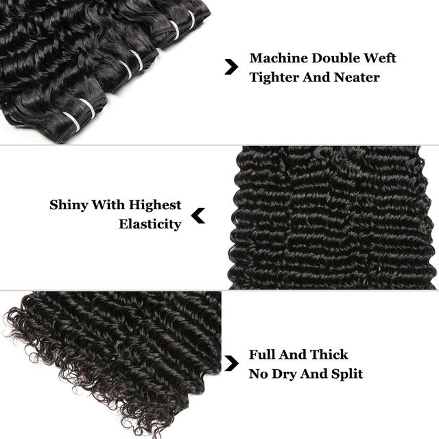 Deep Wave Bundles Brazilian Hair Extension Weave Bundles