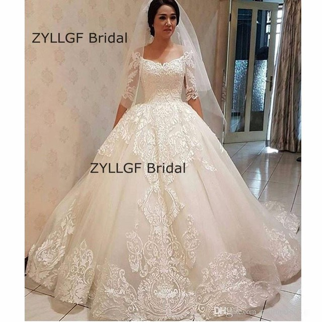 ZYLLFG Bridal Middle East Ball Gown Half Sleeves Wedding Dresses Lace Sleeve With Appliques RM145
