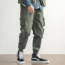 outdoor 2019 autumn winter hip hop cargo cotton elastic waist track loose multi pocket teenagers boys overalls hiking pants men цена