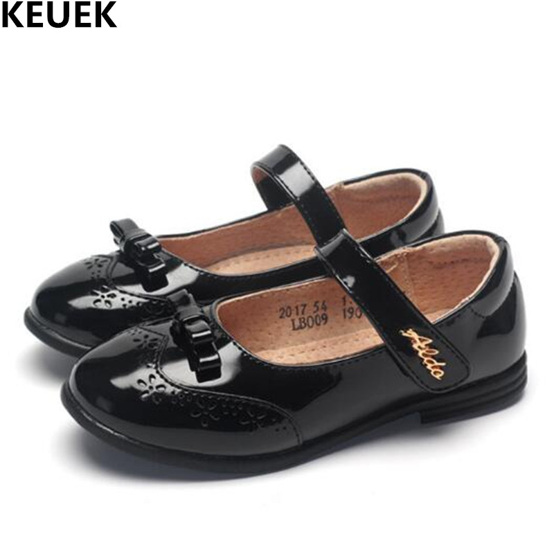 New Spring/Autumn Single Shoes Children Black Leather Shoes Girls Princess Baby Dress Shoes Student Kids Shoes Flats 018