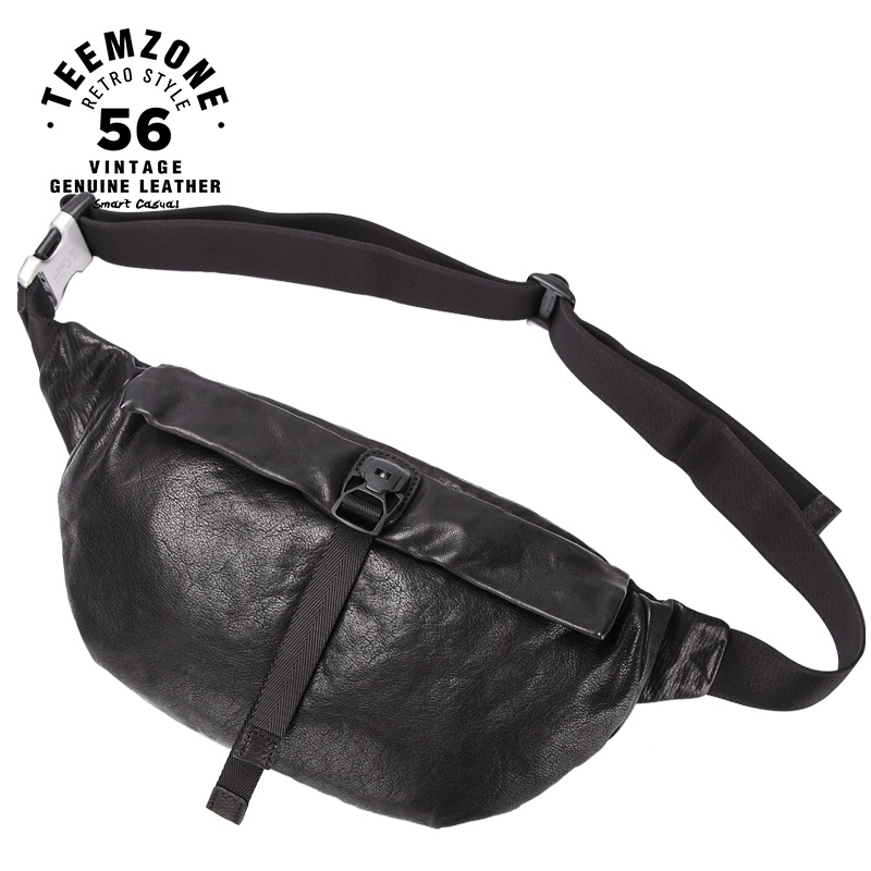 2018 New Famous Brand Crossbody Bag Genuine Leather Male Chest Bag Pack Casual Bag Real Leather Single Shoulder Strap Pack j50