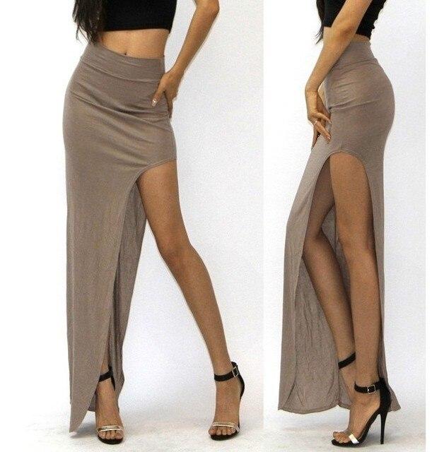 New Brand Designer summer Hot Sale 2016 Novelty  Sexy Women Skirt Lady Open Side Split Skirt High Waist Long Maxi Skirt 2