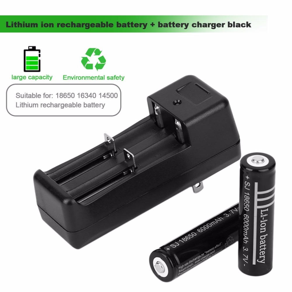 High quality 2 x 18650 6000mAh 3.7V Li-ion Rechargeable Battery + 1 x Battery Charger US Plug Hot Promotin