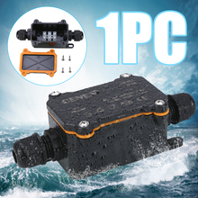 цена на Black IP68 Electrical Junction Box Cable Wire Connector 2 Way Outdoor Waterproof Junction Box for Garden Street Light