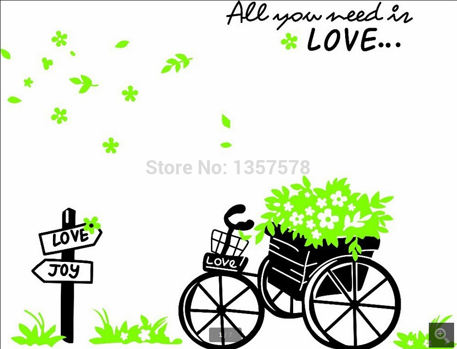 ᗗCreative Large All You Lead Is Love Quotes Bicycle Wall Stickers Unique Love Quotes Kids