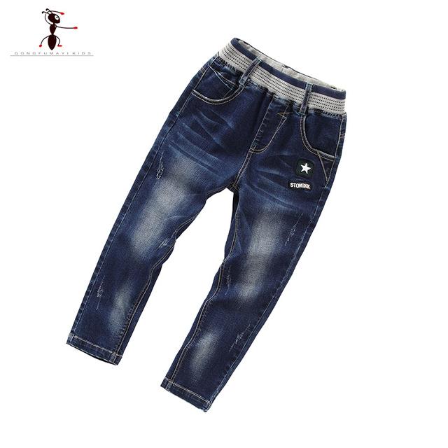 Outono Nova Chegada dos Meninos Casuais Jeans Cintura Elástica Crianças Bordados Famosa Marca de Jeans Crianças Calças 63319
