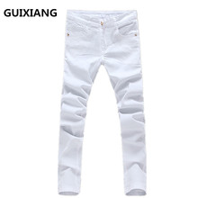 2017 new style trousers Men's 100% cotton straight embroidery jeans Men's high quality jeans men white jeans Free shipping
