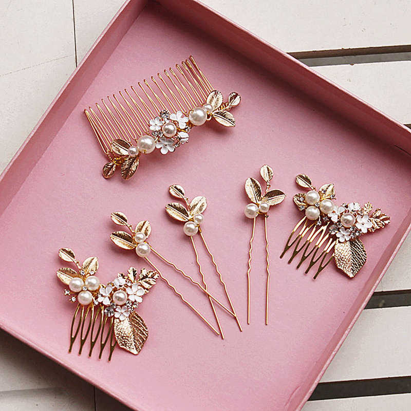 6 PCS/Set Gold Color New Fashion Hair Combs Flower Pearl Leaves Hairpins Clips Set Bridal Hair Accessories For Wedding Bride