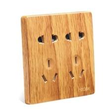 Luxury Yellow Wood Pattern 86 Wall Switch,  Double Five Hole Socket, AC 110 ~ 250V 10A
