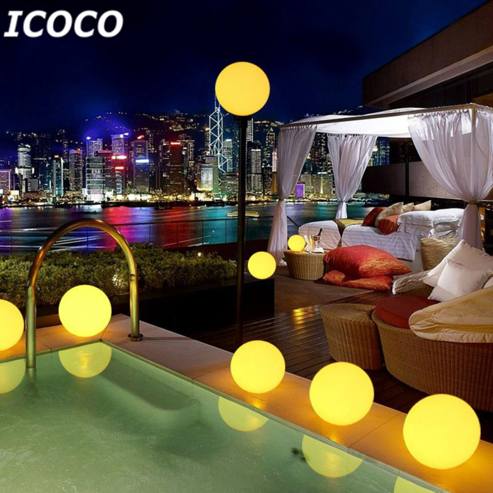 ICOCO 7 Color Changeable Solar Power Floating Ball Night Light for Swimming Pool Outdoor Garden Pons Path Lawn Landscape Yard