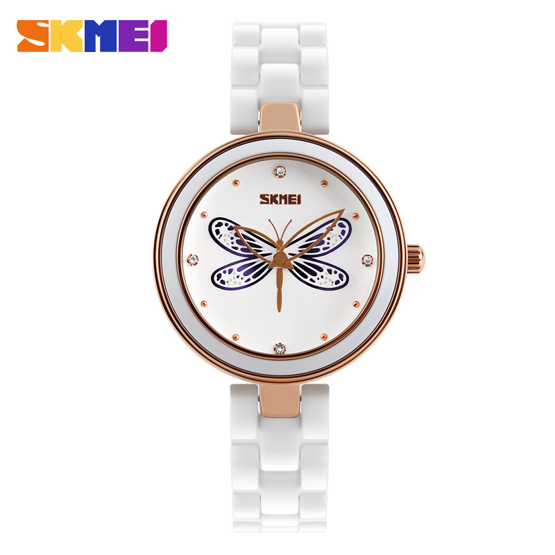 2017 SKMEI Original Brand Women Watches Luxury Ceramic Quartz Watches For Women Fashion Waterproof Rhinestone Ladies Wrist Watch weiqin women watch brand luxury ceramic band rhinestone fashion watches ladies rose gold wrist watch quartz watch reloj mujer