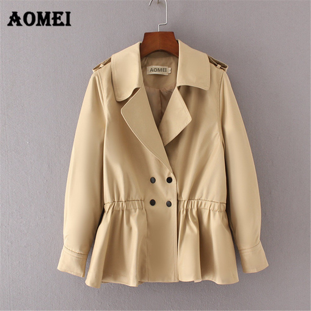 Women Coat Double Button Elastic Waist   Trench   Coat Army Green Turn Down Collar Long Sleeves Casual Fashion Lady Outerwear 2019