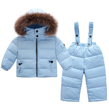Infant Snowsuit New Toddler Boys Girls Winter Suits Thermal Down Jacket+Thickening Jumpsuit Fur Collar Baby Snow Wear