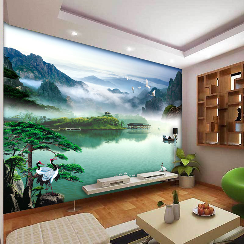 3d Stereoscopic Mural Wallpaper Beibehang Modern Chinese Landscape Painting Study Office