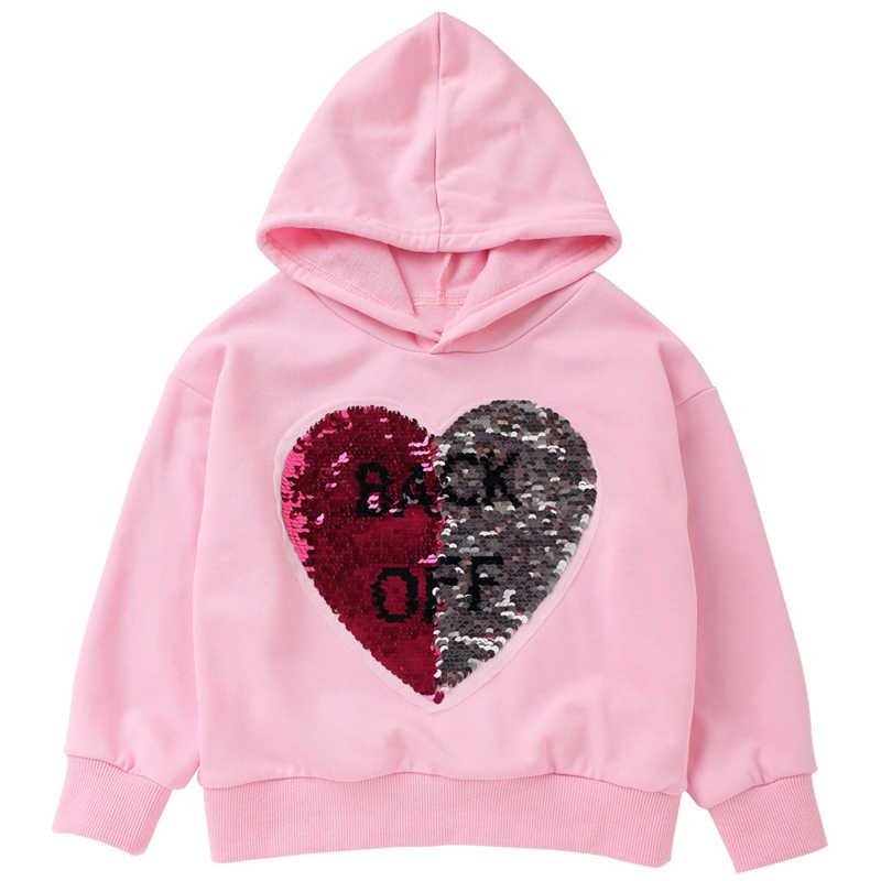 브랜드 새 패션 의류 베이비 키즈 여자 소년 후드 티 스웨터 긴 소매 하트 모양의 스팽글 스웨터 탑스