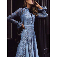 Kate Middleton High Quality Runway 2018 Spring Summer New Fashion Women Party Office Hollow Out Vintage Lace Long Sleeved Dress