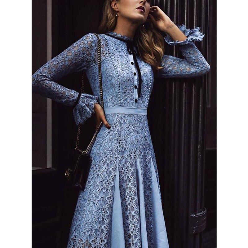Kate Middleton haute qualité piste 2018 printemps été nouvelle mode femmes parti bureau évider Vintage dentelle à manches longues robe
