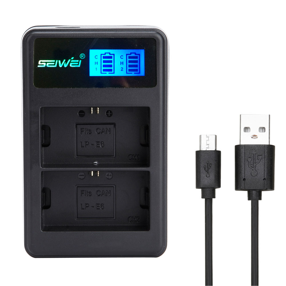 SEIWEI LP-E6, LPE6 USB Double canal Rapide Batterie Chargeur avec LED Écran pour Canon EOS 5D2, EOS 5D3