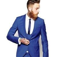 Custom Made hommes costumes Bleu Royal hommes Classique Smokings de Marié Blazer Hommes De Bal Tux Époux personnalisé (Veste + Pantalon + gilet)