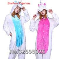 MengShuFen Dinosaur Unicorn Winter Pajamas For Women Men Warm Flannel Adult Homewear Winter Loungewear Sleep Couple