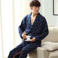 2017 New Spring Autumn Bathrobe Men Plaid Cotton Sleep Robe Long Sleeve Male Comfortable Casual Home