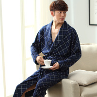 2017 New Spring Autumn Bathrobe Men Plaid Cotton Sleep Robe Long Sleeve Male Comfortable Casual Home