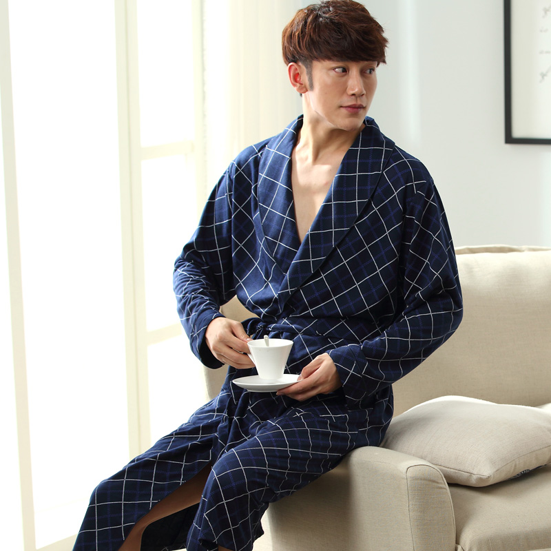 2018 New Spring Autumn Bathrobe Men Plaid Cotton Sleep Robe Long Sleeve Male Comfortable Casual Home Clothing Sleepwear Nighties
